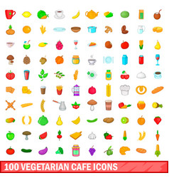 100 vegetarian cafe icons set cartoon style vector