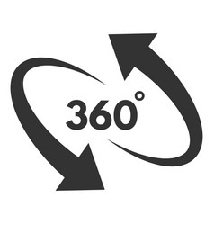 360 degree black icon in round rotation pictogram vector