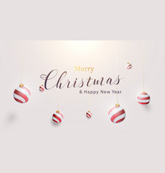 3d christmas ball ornaments hanging gold rope vector image