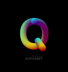 3d iridescent gradient letter q vector image