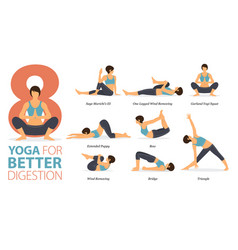 8 yoga poses for better digestion infographic vector