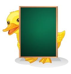 A duckling holding blackboard vector