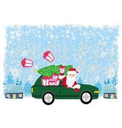 Abstract card with Santa Claus driving car with vector image