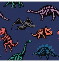 Adorable seamless pattern with funny dinosaur vector image