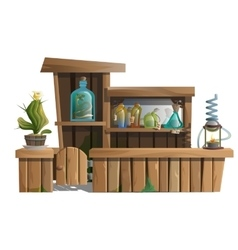 Alcoholic bar with exotic drinks and potions vector