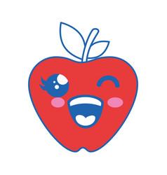 Apple kawaii cartoon vector