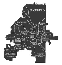Atlanta georgia city map usa labelled black vector