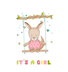 baby shower or arrival card - baby girl kangaroo vector image