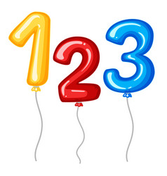 balloons for numbers one to three vector image
