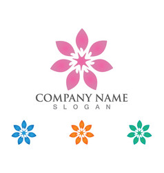 beauty leaf flowers design logo template icon vector image
