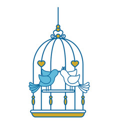Birdcage with cute doves icon vector