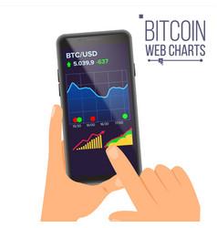 bitcoin web charts hand holding smartphone vector image