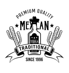 Bottle tequila and cactus mexican emblem vector