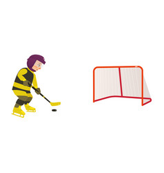 Boy playing hockey with puck and stick side view vector