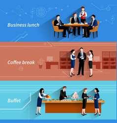 Business lunch flat banners set vector