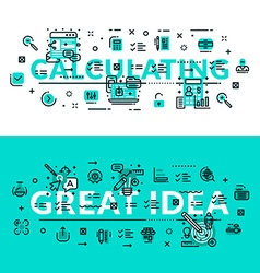 Calculations and Great Idea heading title web vector