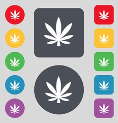 Cannabis leaf icon sign A set of 12 colored vector image