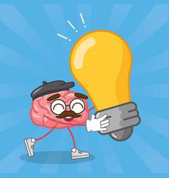 cartoon brain creativity vector image