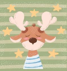 cartoon funny deer character winter vector image