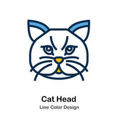 Cat head line color icon vector