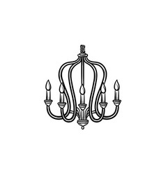 Chandelier hand drawn sketch icon vector