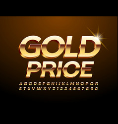 Chic tag gold price with 3d premium font vector