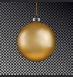 Christmas gold ball handing on string xmas vector