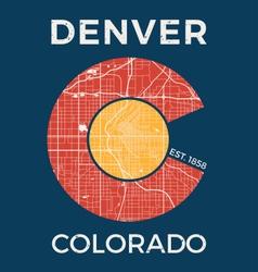 Colorado t shirt with denver city map vector
