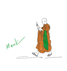 Colored sketch of walking buddhist monk vector