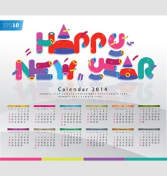 Colorful Calendar 2014 New Year Background vector image
