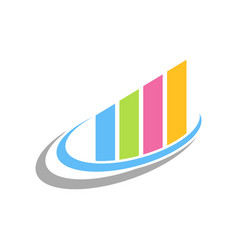 colourful fast chart statistic swoosh symbol vector image