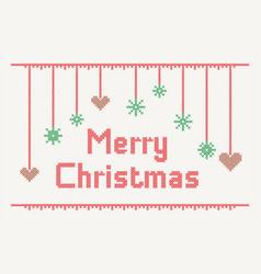 cross stitch merry christmas vector image