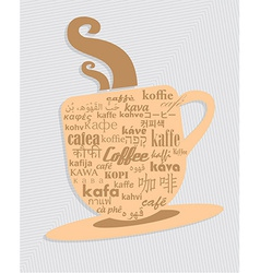 Cup of coffee in 36 different language vector image vector image