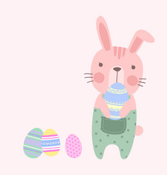 cute pastel easter rabbit holding an easter eggs vector image