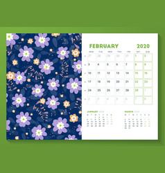 Desk calendar template for february 2020 week vector