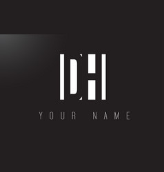Dh letter logo with black and white negative vector
