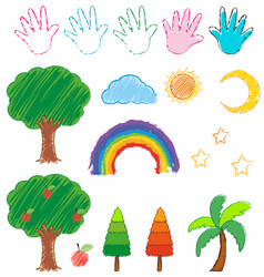 Doodles picture for nature objects vector