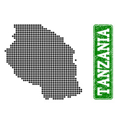 Dotted map of tanzania and grunge rectangle vector