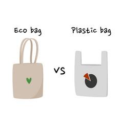 Eco cotton bag vs plastic package vector