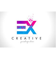 Ex e x letter logo with shattered broken blue vector
