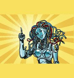 female robot indicates vector image