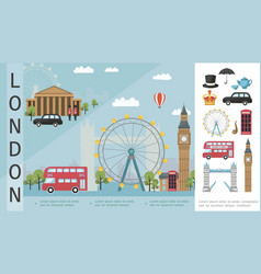 Flat travel to london colorful concept vector