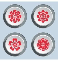 Flower circle icons set Dahlia aster daisy vector