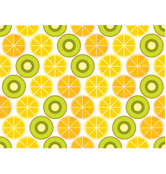 fruit seamless background with oranges kiwi vector image
