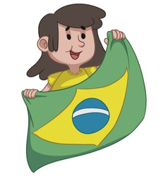 Girl Holding a Brazilian Flag vector image