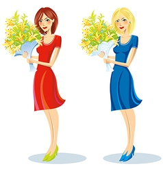 Girl with bouquet in hand vector