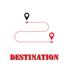 gps motion from point to point along way flat vector image