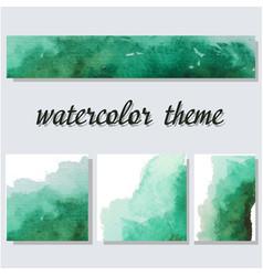 Green aquarelle watercolor splash vector