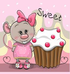 Greeting card cartoon rat with cake vector