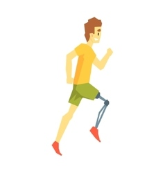 Guy running with artificial leg young person vector